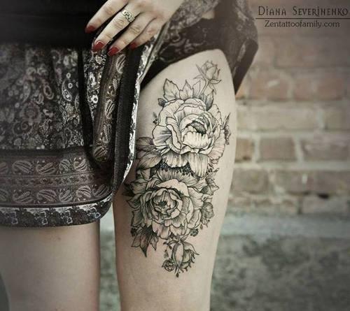 Rosas En Blanco Y Negro Tatuajes Para Mujeres
