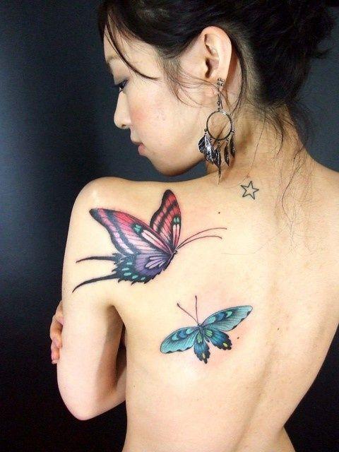Mariposas 3D - Tatuajes para Mujeres