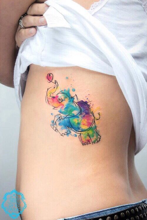 Elefante De Colores Tatuajes Para Mujeres