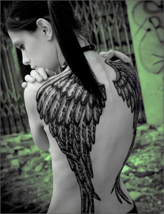 Are absolutely tattoo angel wings on back fully naked fucking something is