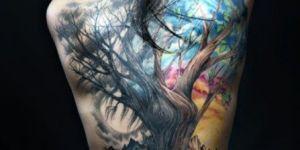 Árbol con copa de colores