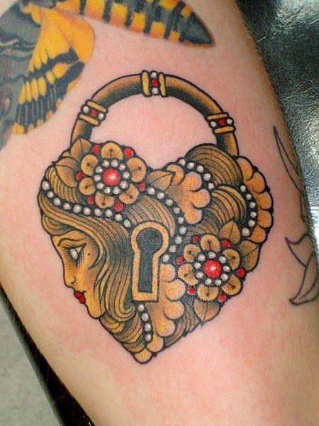 Candado Estilo Vintage Tatuajes Para Mujeres
