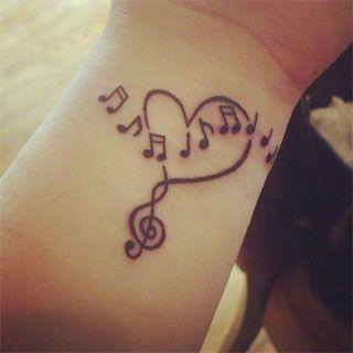 Corazón con Notas Musicales - Tatuajes para Mujeres