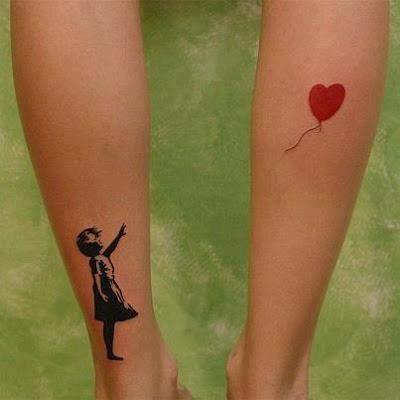 Niña Con Globo Corazón Tatuajes Para Mujeres