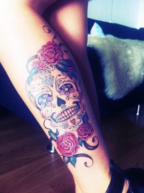 Calavera Flores Tatuajes Para Mujeres