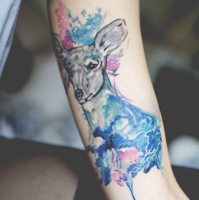Ciervo En Acuarelas  Tatuajes Para Mujeres