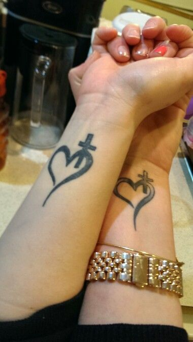 Corazón Cruz Tatuajes Para Mujeres