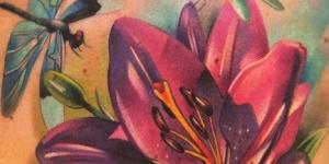 Flor y Libélulas revoloteando