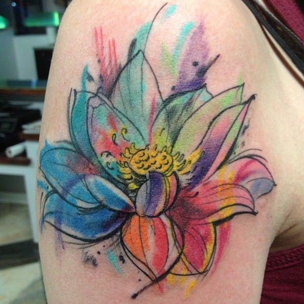 Blue Daffodil Tattoo Flor de Loto en Acuare...