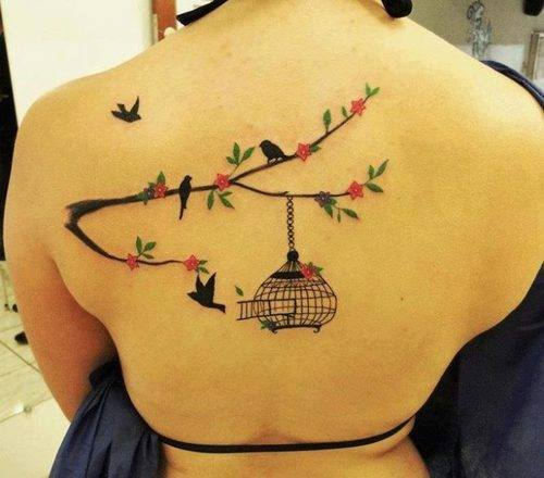 Jaula Aves Ramas Y Flores Tatuajes Para Mujeres