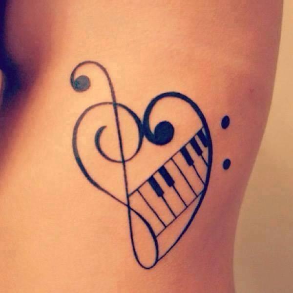 Clave De Sol Fa Con Piano Tatuajes Para Mujeres