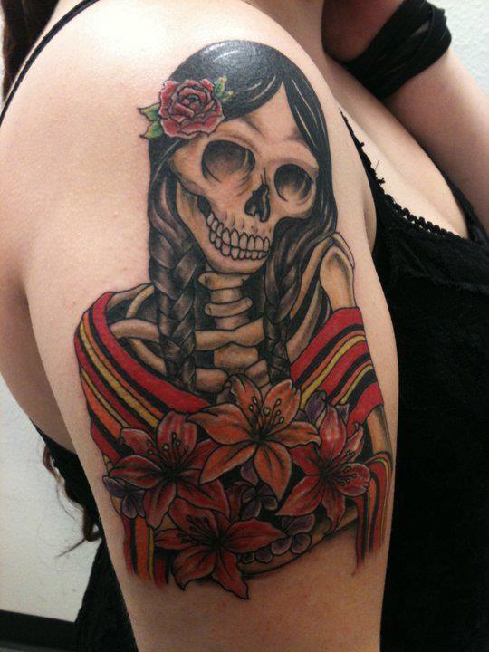 Catrina Mexicana Con Flores Tatuajes Para Mujeres