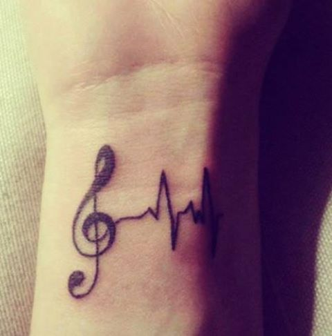 Clave De Sol Y Electrocardiograma Tatuajes Para Mujeres