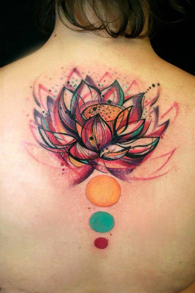Flor De Loto Con Esferas De Colores Tatuajes Para Mujeres