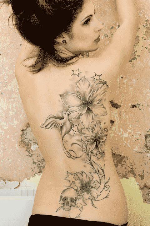 Flores Aves Calavera Estrellas  Tatuajes Para Mujeres