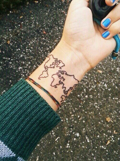 Tatuaje Mapa Del Mundo.Mapa Del Mundo Tatuajes Para Mujeres
