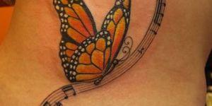 Mariposa, Pentagrama y Notas Musicales
