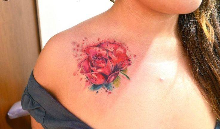 Rosa En Acuarelas By Javi Wolf Tatuajes Para Mujeres