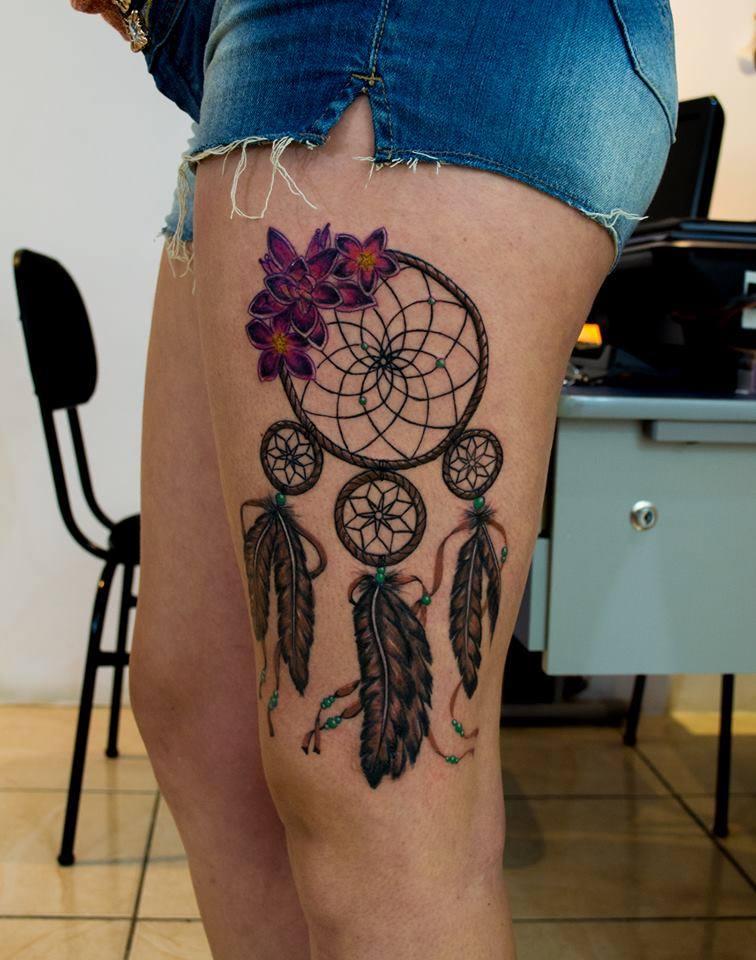Atrapasueños Y Flores Tatuajes Para Mujeres