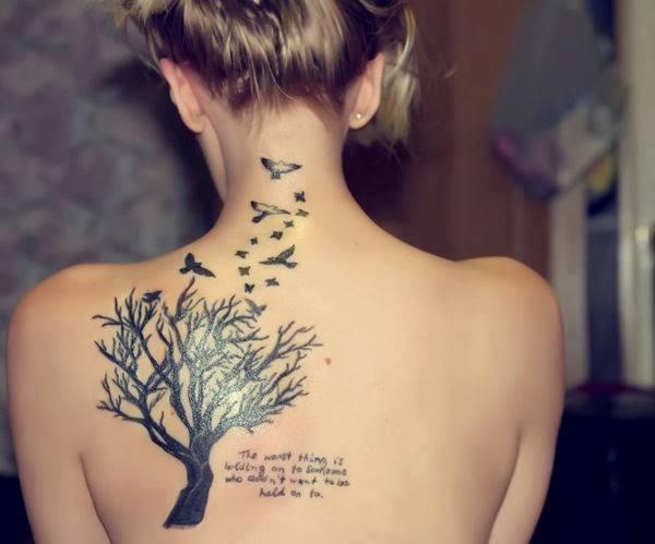 Aves Mariposa Y árbol Tatuajes Para Mujeres