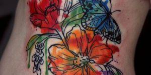 Flores y Mariposa en Acuarelas