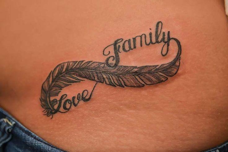 Infinito Pluma Con Frase Love Y Family Tatuajes Para Mujeres