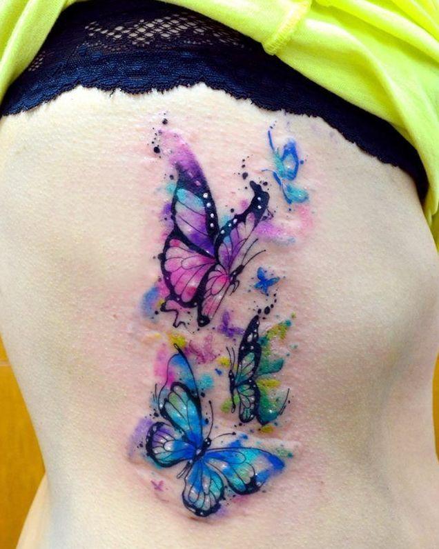 Mariposas En Acuarelas By Javi Wolf  Tatuajes Para Mujeres