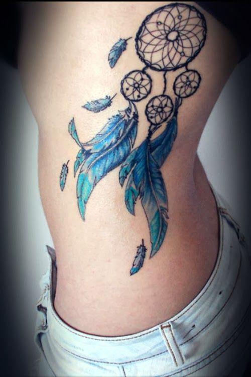 Atrapasueños Y Plumas Azules Tatuajes Para Mujeres