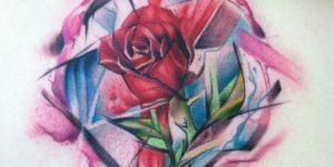 Flor Rosa con Pinceladas en Acuarelas
