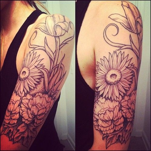 Flores En Media Manga Tatuajes Para Mujeres