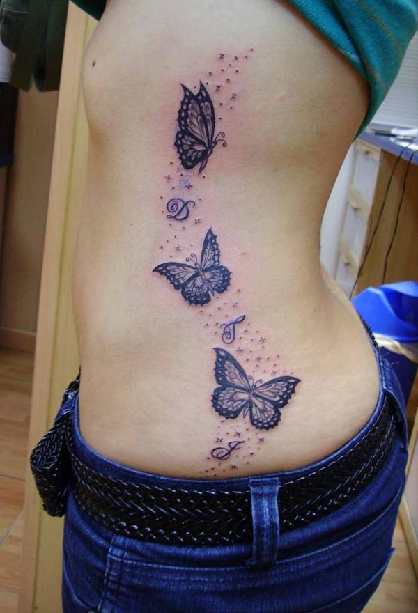 Mariposas E Inicial Nombre De Hijos Con Destellos Tatuajes Para - Mariposas-tatuaje