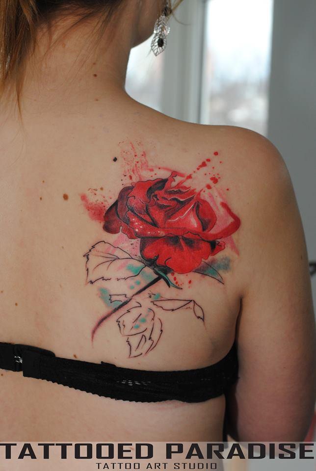 Flor Rosa En Acuarelas By Aleksandra Katsan  Tatuajes