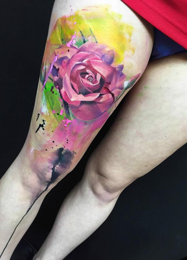 Flor Rosa En Acuarelas Tatuajes Para Mujeres