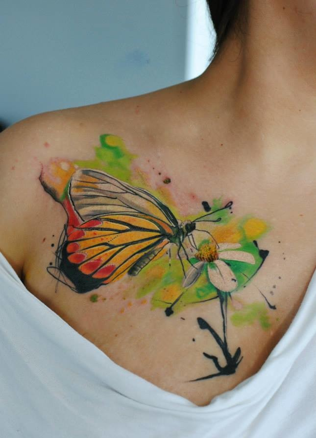 mariposa en flor acuarelas by aleksandra katsan tatuajes para mujeres. Black Bedroom Furniture Sets. Home Design Ideas