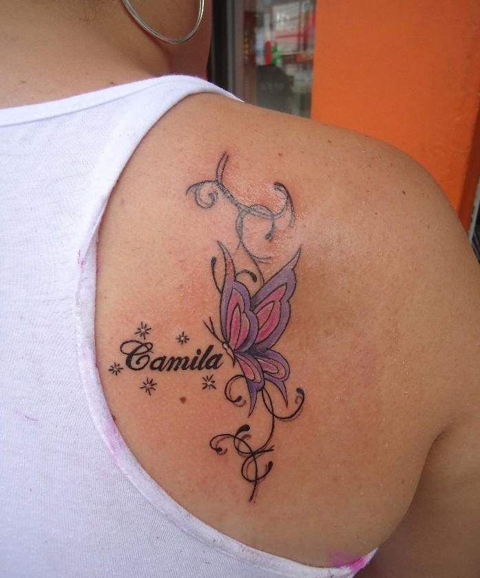 Mariposa Nombre De Hijo Firuletes Y Destellos Tatuajes Para Mujeres