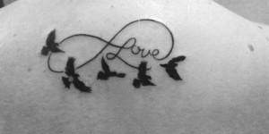 Signo Infinito con la Frase: Love y Aves