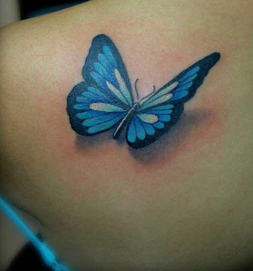Mariposa 3d azul tatuajes para mujeres