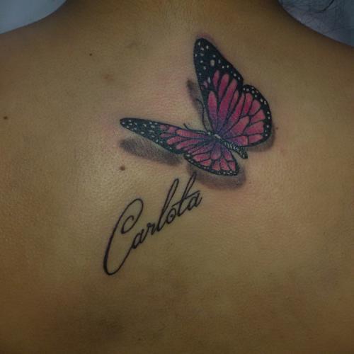 Mariposa 3d Nombre Tatuajes Para Mujeres