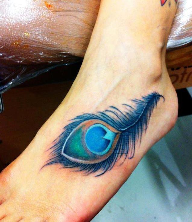 Pluma De Pavo Real Azul Tatuajes Para Mujeres