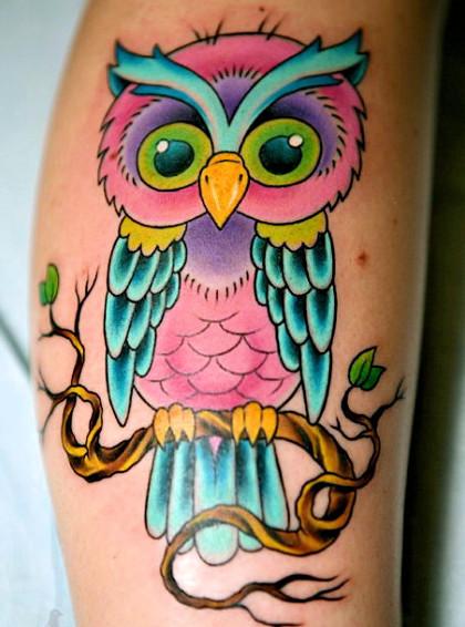Lechuza Colorida Tatuajes Para Mujeres