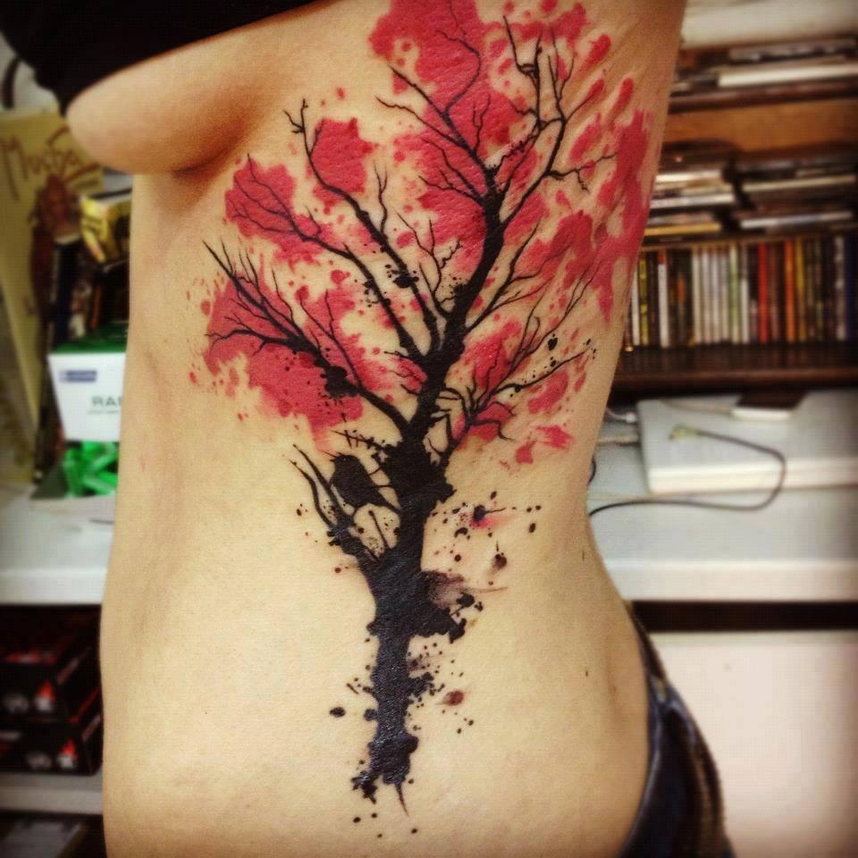 árbol De Cerezo En Acuarelas By Nils Tatuajes Para Mujeres