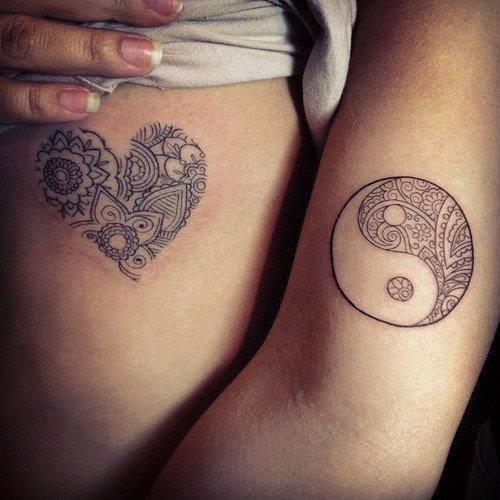 Corazón Yin Yang Tatuajes Para Mujeres