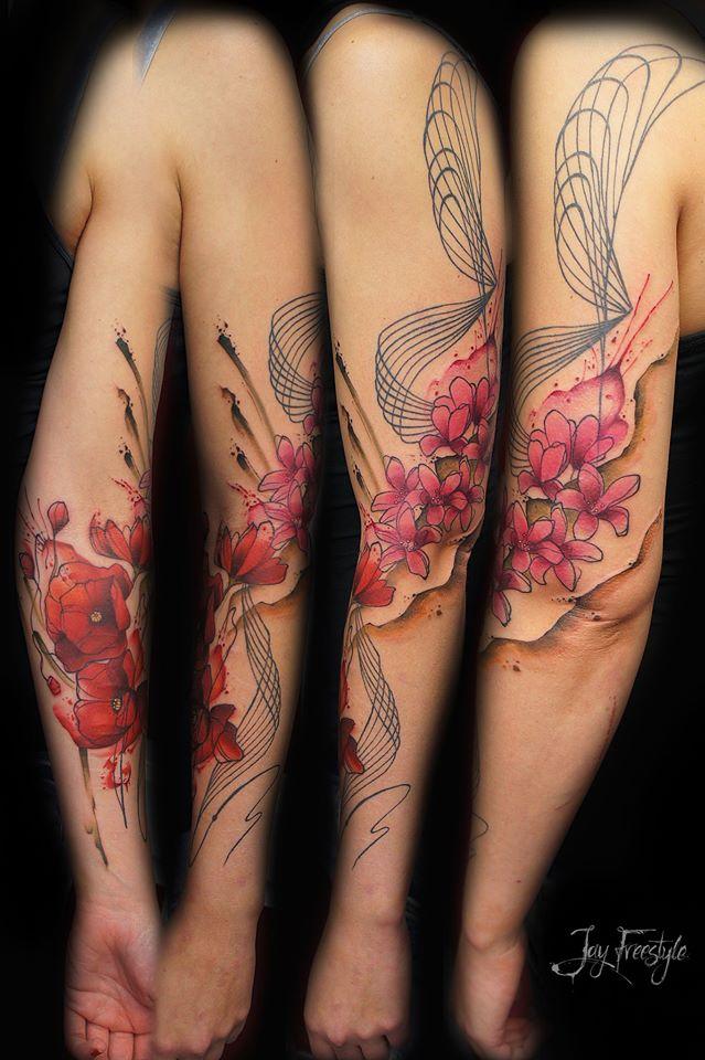 Flores De Amapolas Y Cerezo En Acuarelas By Jay Freestyle Tatuajes