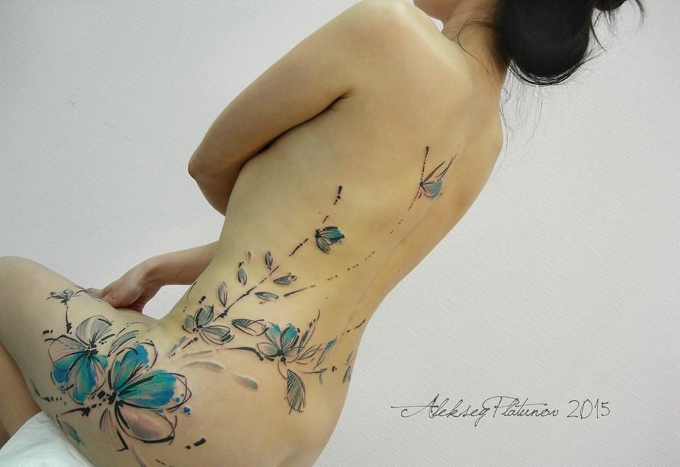 Flores Y Mariposas En Acuarelas By Aleksey Platunov Tatuajes Para