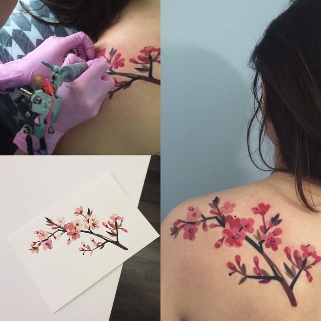 Flores De Cerezo By Sasha Unisex Tatuajes Para Mujeres