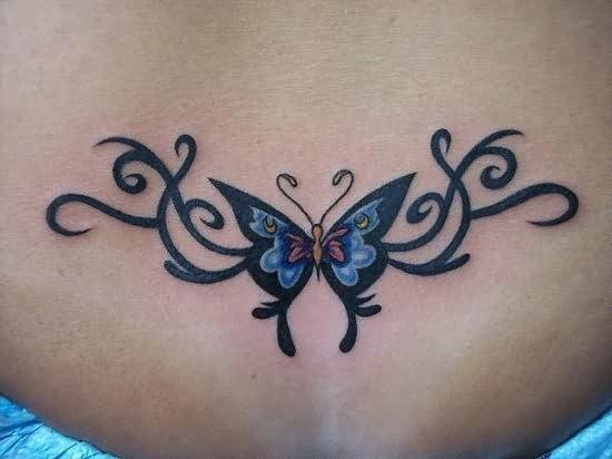 Mariposa Y Firuletes En Espalda Baja Tatuajes Para Mujeres