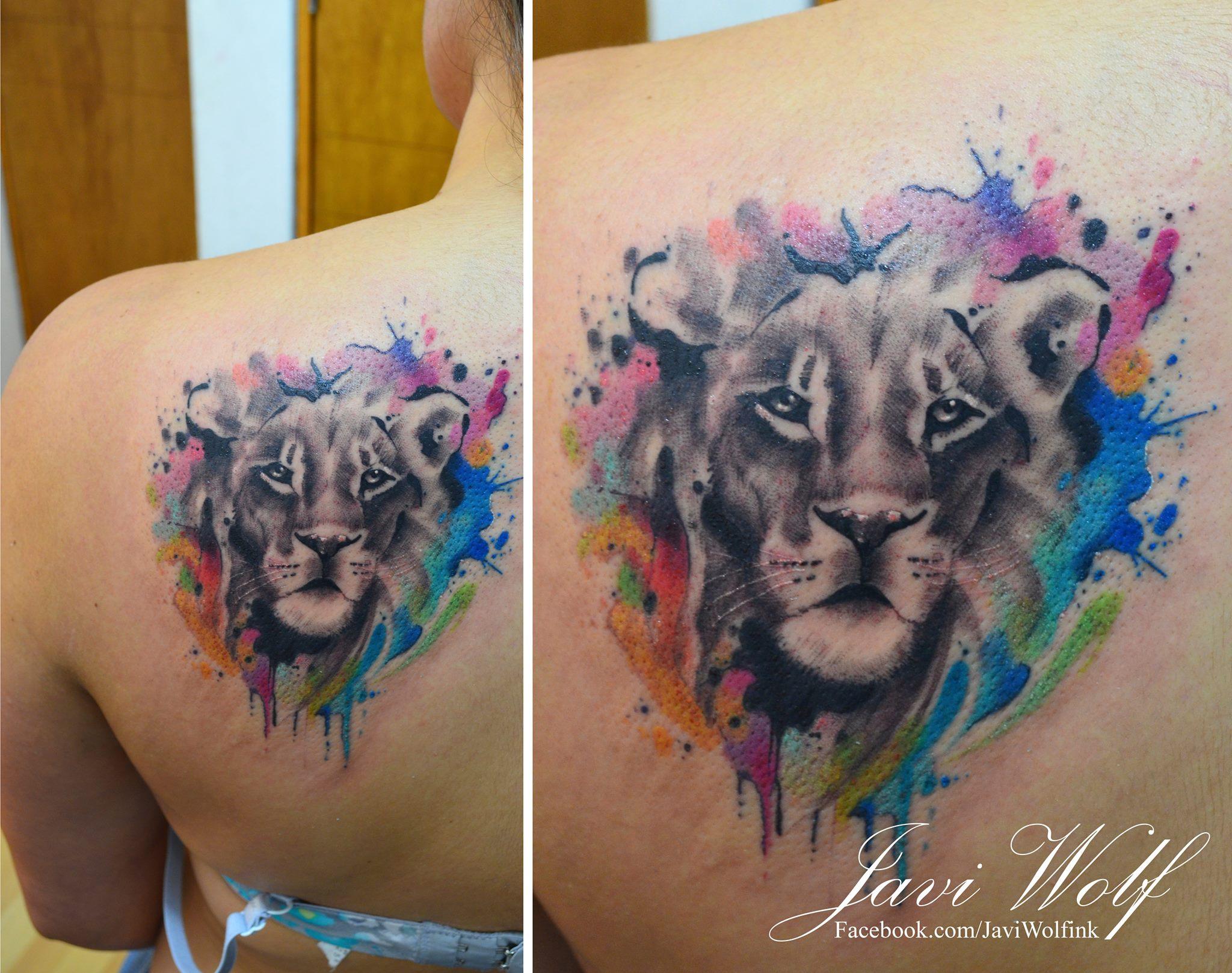 León En Acuarelas By Javi Wolf Tatuajes Para Mujeres