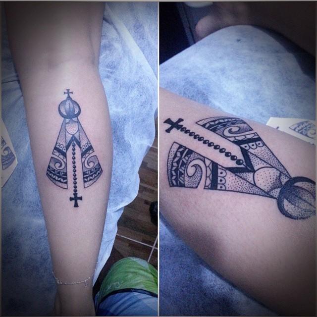 Virgen Con Rosario Y Cruz Tatuajes Para Mujeres
