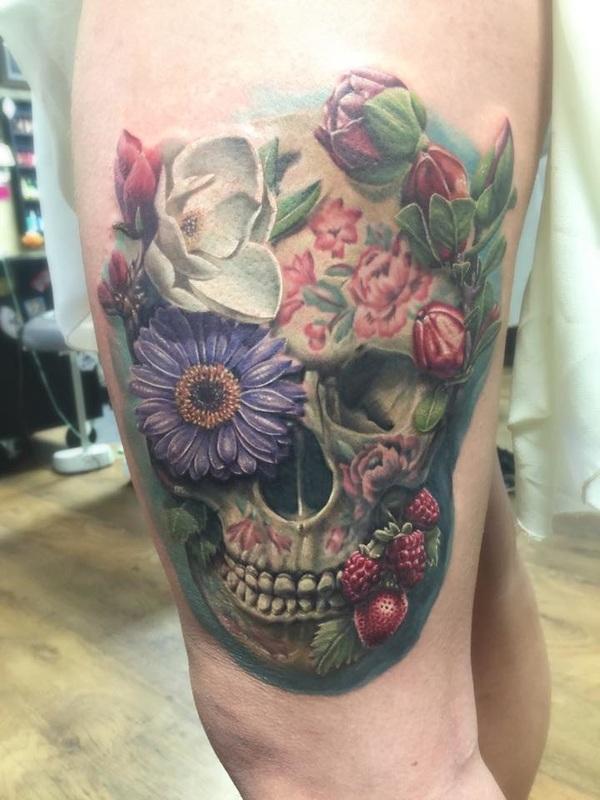 Calavera Flores Y Frutas By David B Kaye Tatuajes Para Mujeres