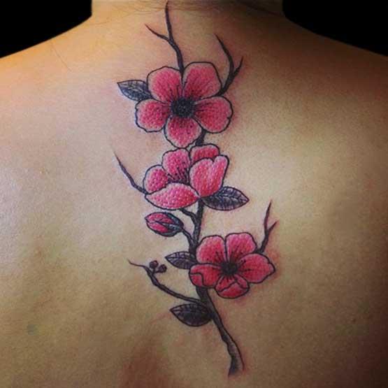 Rama Flores De Cerezo Tatuajes Para Mujeres